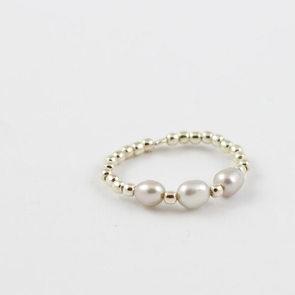 Perlenring Silber graue Perlen