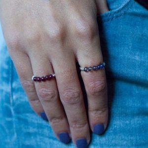 Ringe Granat und Iolit